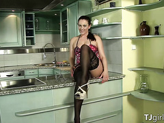 Brunette Kaya In Her Black Stockings