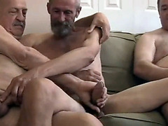 Four old daddies having an exciting gay orgy