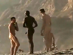 Three gays are walking at the beach