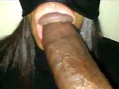 Lucky ebony with tied eyes and plump lips sucks black tool