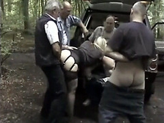 Four old men fucking slutty milf in the woods