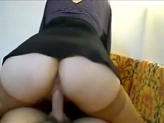 Appetizing brunette in stockings sucks and rides