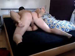 Passionate amateur couple fucking on the bed