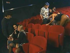 Wild banging of hot girls at the cinema