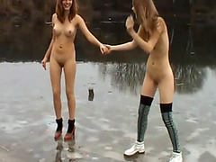 Two naked teen girls on the frozen lake