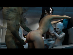 Busty girl got fucked by ugly monsters in the spaceship