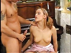 he gives her mouth and titty piss