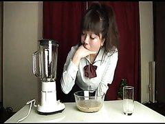 Japanese girl makes a milkshake with her puke and drinks it
