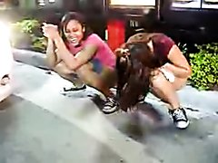 Teen girls pee in public at drivethrough