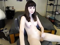 Super cute shemale masturbating on cam