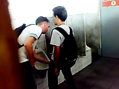 Guys caught in the public toilet