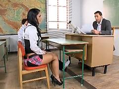 Schoolgirl double penetration with anal creampie sex