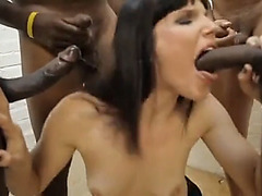 Interracial big cock blowbang with brunette babe