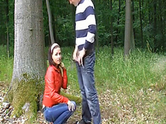 Cute girl gives great blowjob in the woods