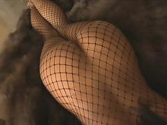 Fishnet lingerie girl gives great blowjob