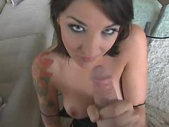 Sexy tattooed girl sucks dick and balls