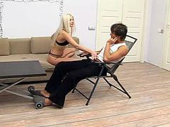 Cocksucking blonde girl sits on his hard boner