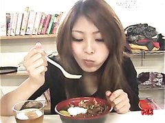 Girl eats, then shits with a nice straining expression on her face