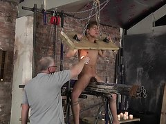 Tied boy torture with wax till cumming