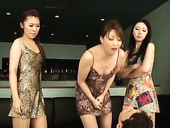 Cruel Asian mistresses make a male slave's mouth a personal toilet