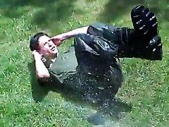 Wet boy soldier drill