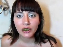 Cutie eating her own shit