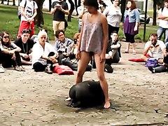 Performing a public pissing art