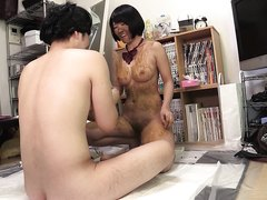 Young wife and her hubby playing with shit for the first time