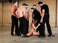 Several guys gangbang one cute girl