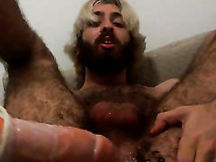 Hairy hipster fucks his hole