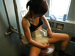 Sexy girl puts diaper on