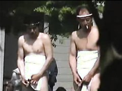 Hot Sumo wrestlers pissing outdoors