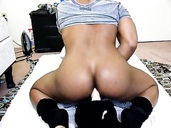 black musclecunt practices on white dildo