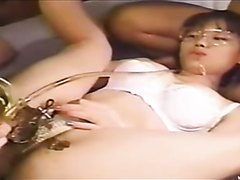 Pissing and shitting into a Jap girl's sweet pussy