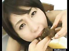 Japanese girl eats her scat