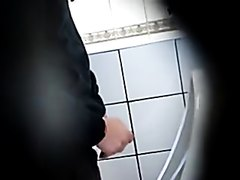 Candid urinal pissing