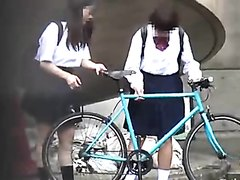 Two naughty schoolgirls piss in public places