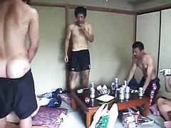 Group of nice looking Asian guys have a party and end up jerking off