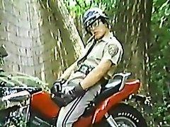 CHP cop biker smoking cigar jerkin off