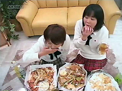 Two Japanese lesbian girls vomiting on each other