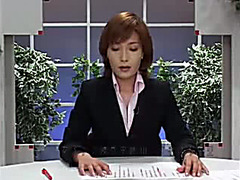Japanese news reporter glazed in hot cum