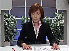 Japanese news reporter glazed in hot cum