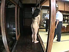 Japanese slave girl in bondage has her ass drilled