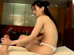 Impeccable massage girl gets her face drenched in jizz