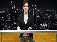 Japanese news reporter gets covered in spunk