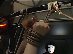 Asian gal in bondage gets tickled and teased