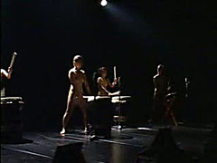 Oiled up Asian babes play drums