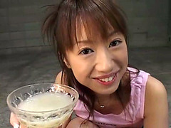 Glamorous Japanese girl drinks a load of cum
