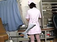 Lovely Asian nurse enjoys a cock up her ass
