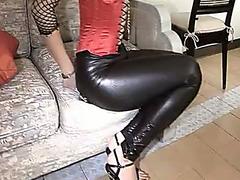 Smutty brunette enjoys a massive boner